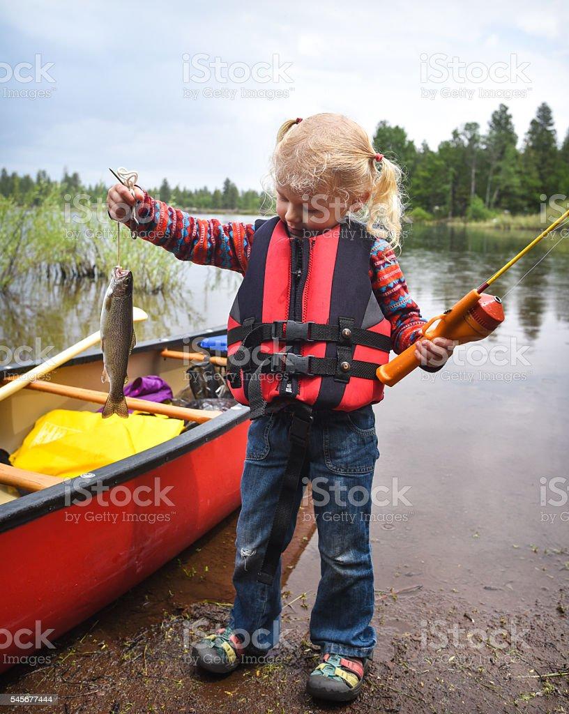 Little Girl Fishing stock photo