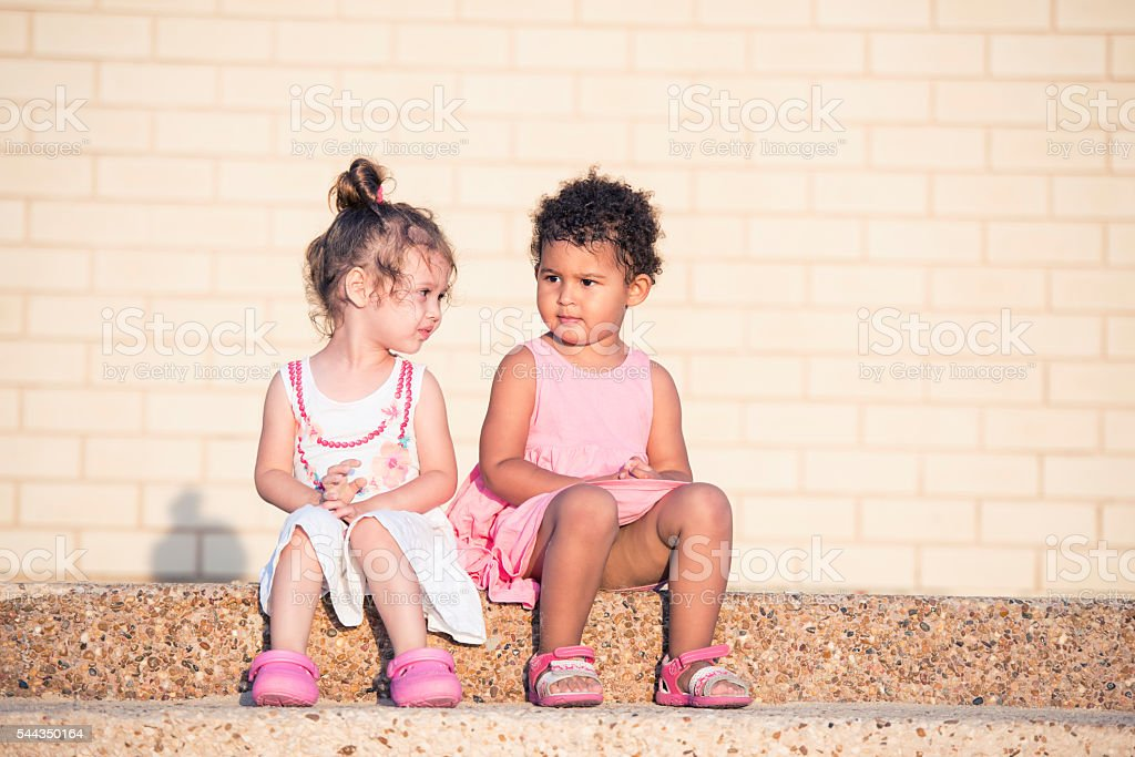 Little girl friends. stock photo