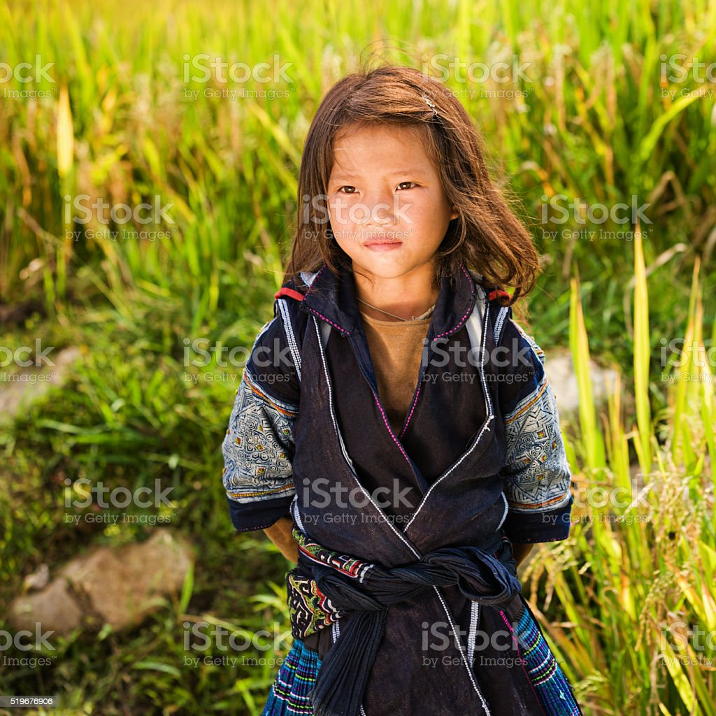 Little girl from Black Hmong Hill Tribe stock photo