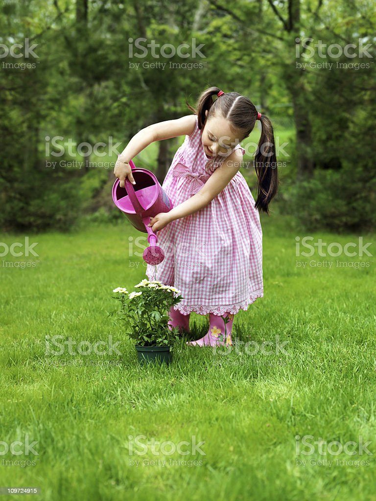 Little girl gardening royalty-free stock photo
