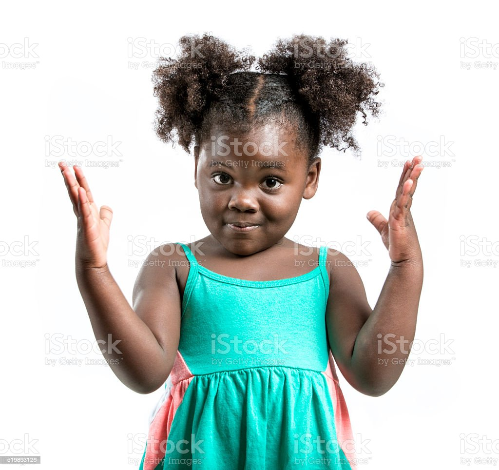 Little Girl Gesturing with Hands stock photo