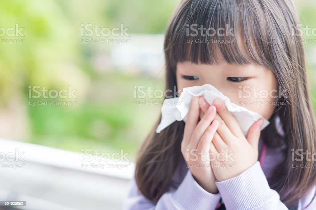 little girl get cold stock photo