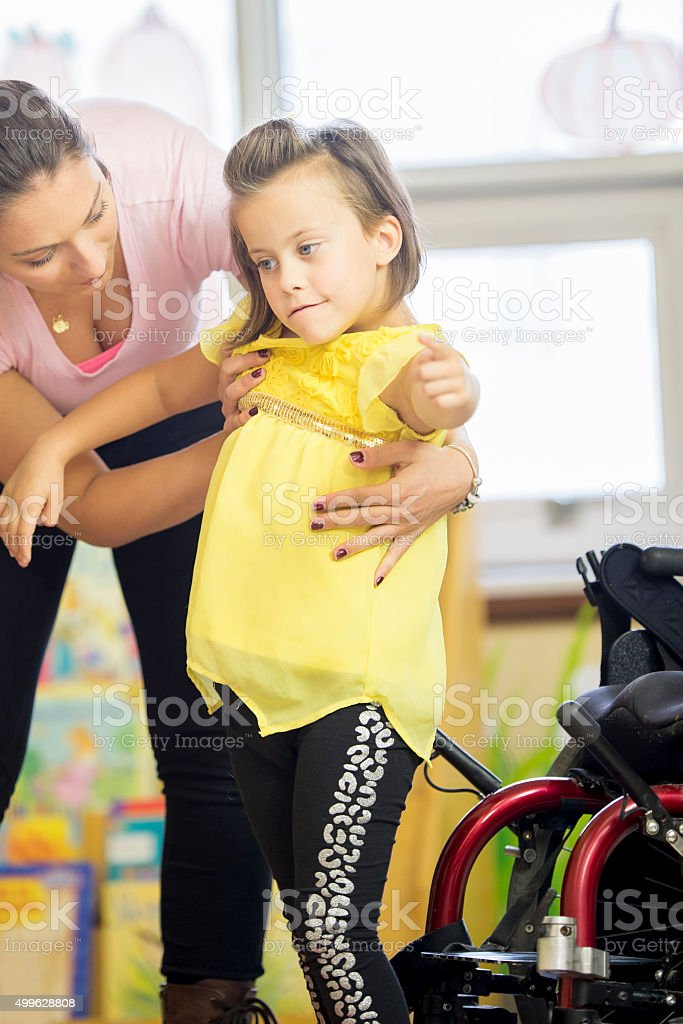 Little Girl Getting Physical Therapy stock photo
