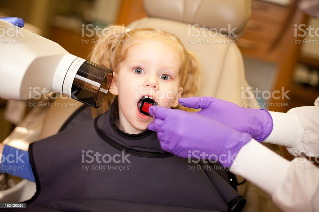 Little Girl Getting Teeth X-Rayed by Dentist at Dental Office royalty-free stock photo
