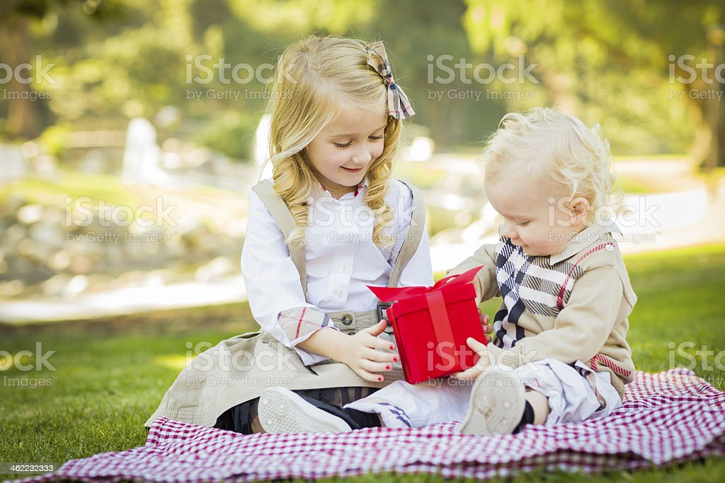 Little Girl Gives Her Baby Brother A Gift at Park stock photo
