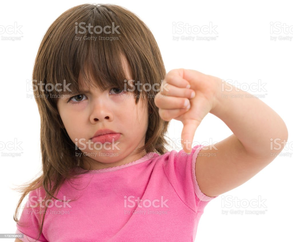 Little Girl Gives Thumbs Down royalty-free stock photo