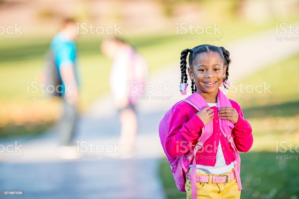 Little Girl Going to School stock photo
