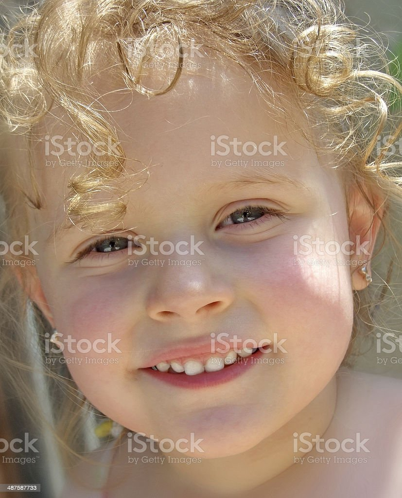 Little Girl happy face portret stock photo