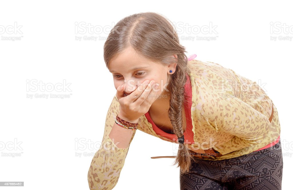 little girl  has a stomachache stock photo