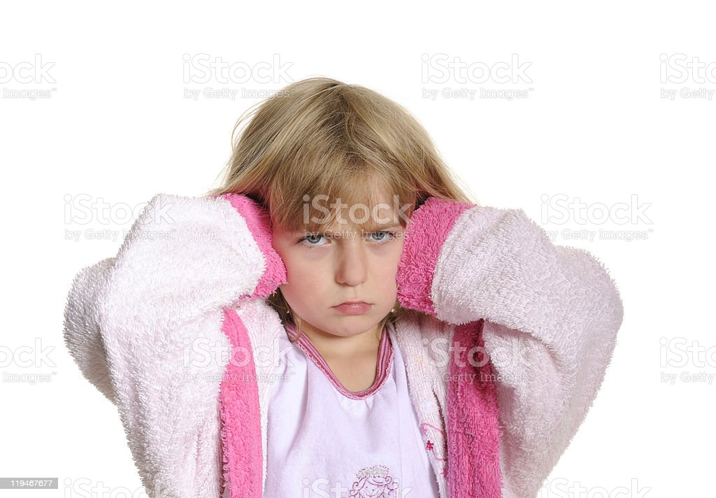 little girl has earache stock photo