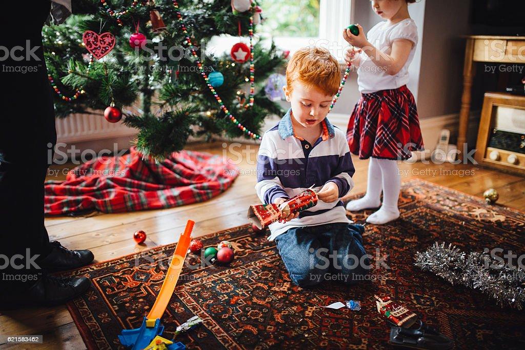 Little Girl Helping Grandma Decorate the Tree stock photo