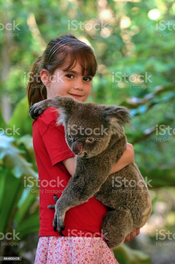 Little girl holding a Koala stock photo