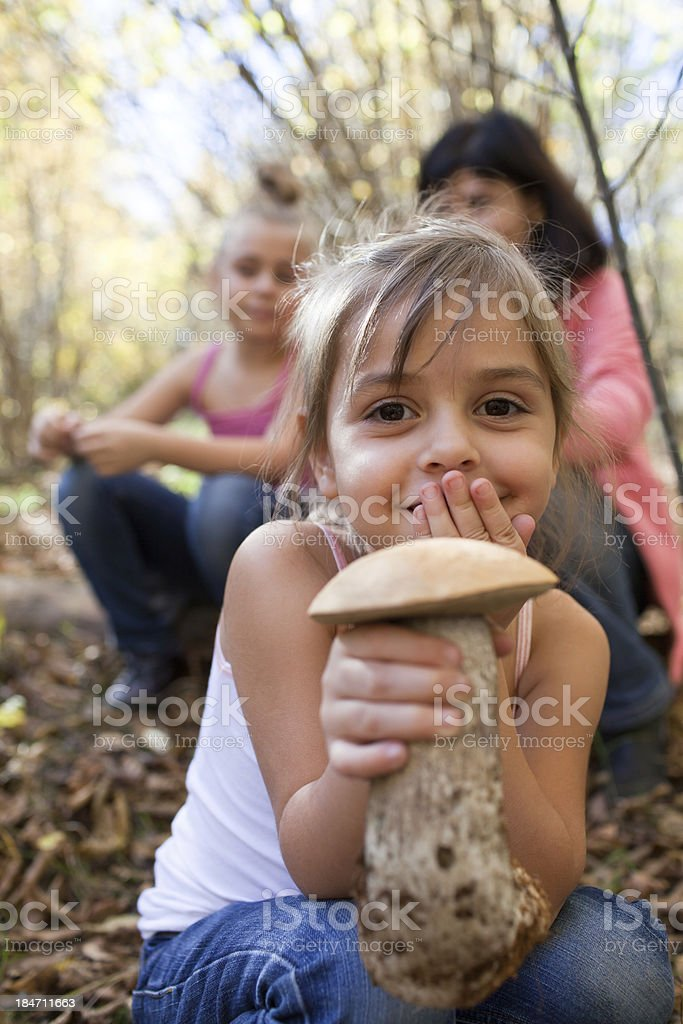 Little girl holding a mushroom in the forest stock photo