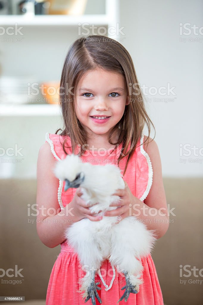 Little Girl Holding A Pet Chicken stock photo