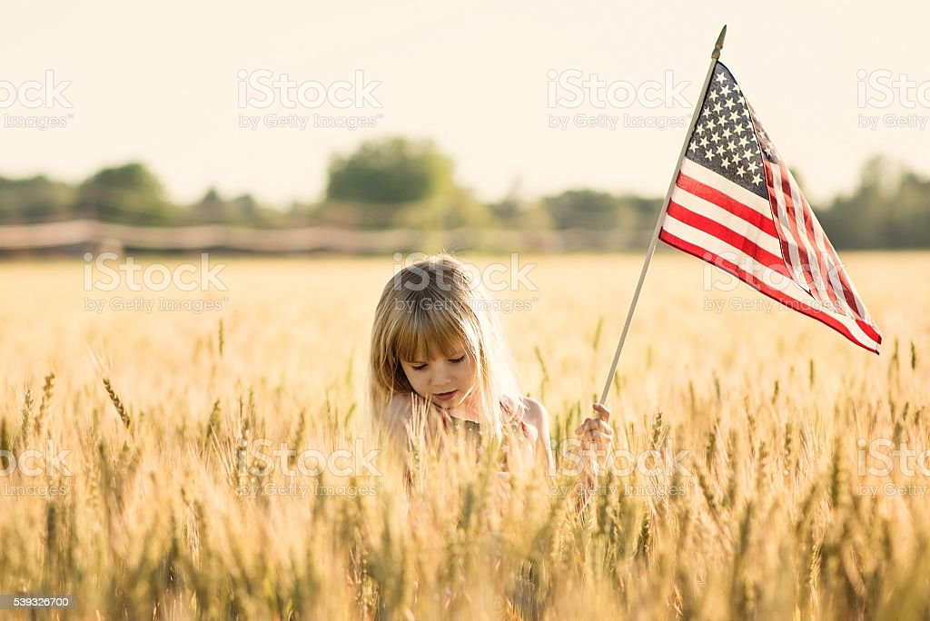 Little girl holding American flag in a field. stock photo