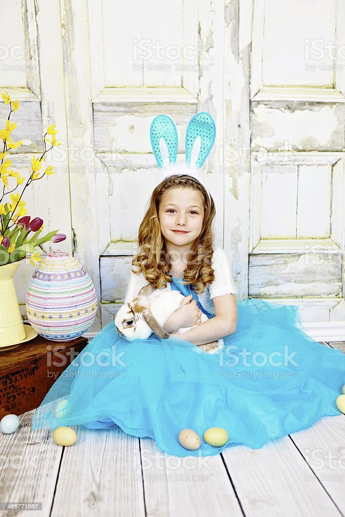 Little Girl Holding Easter Bunny royalty-free stock photo