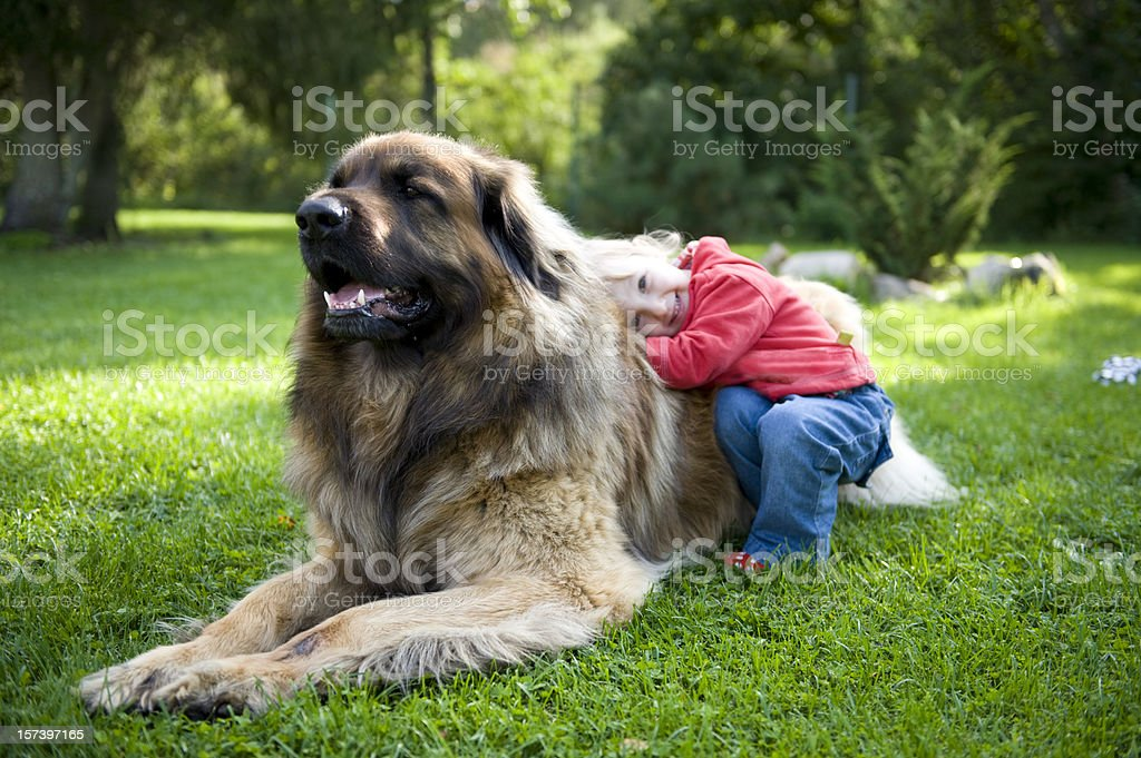 Little girl hugging her dog stock photo