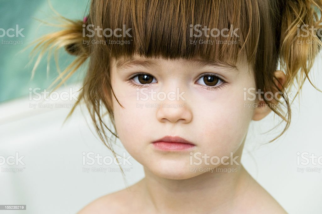little girl in a bathroom royalty-free stock photo