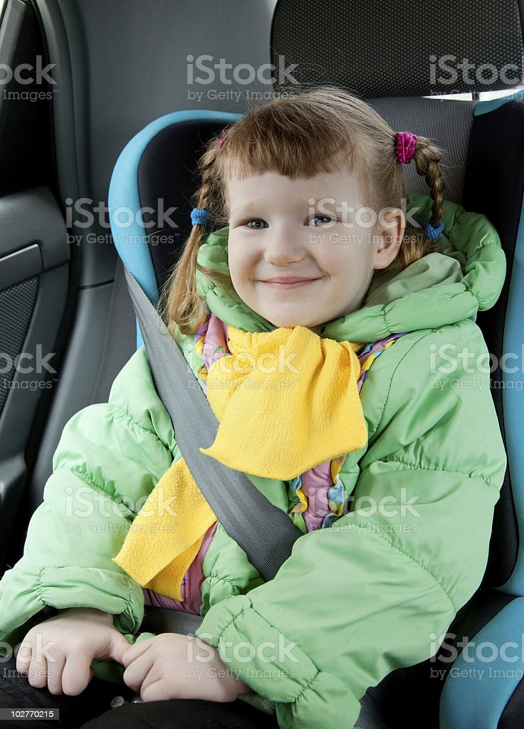 Little girl in a car royalty-free stock photo