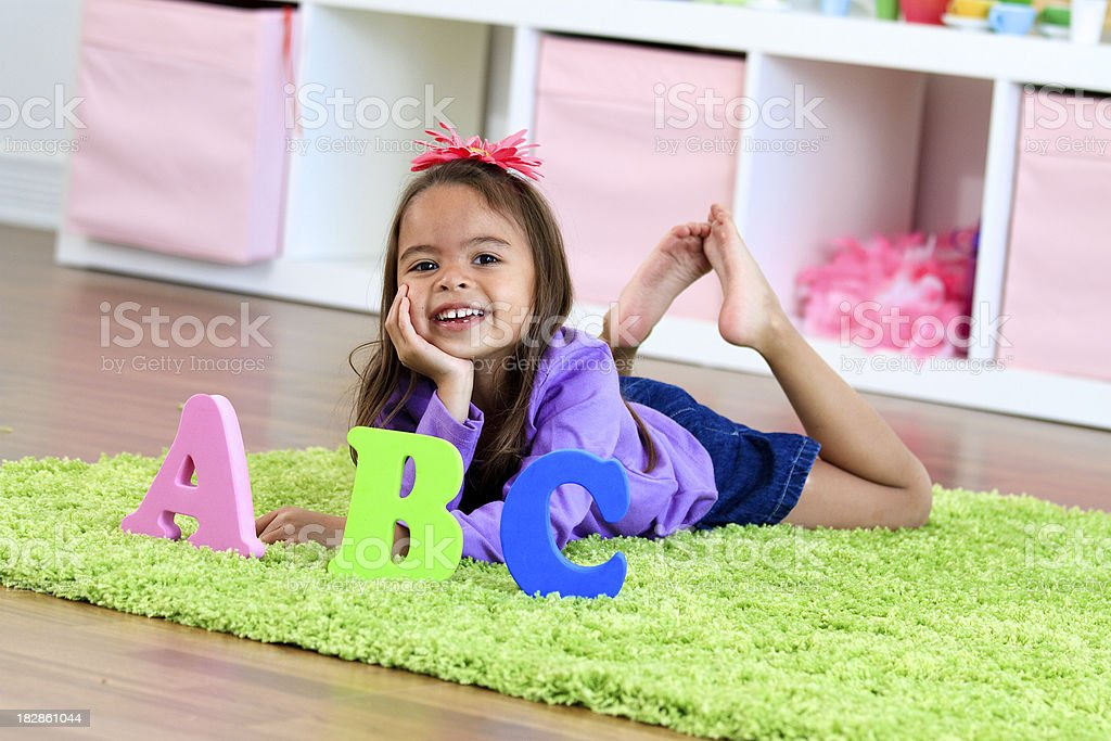 Little Girl in a Preschool Room royalty-free stock photo