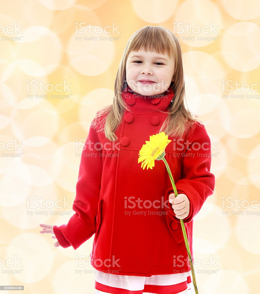 Little girl in a red coat and holding flowers. stock photo