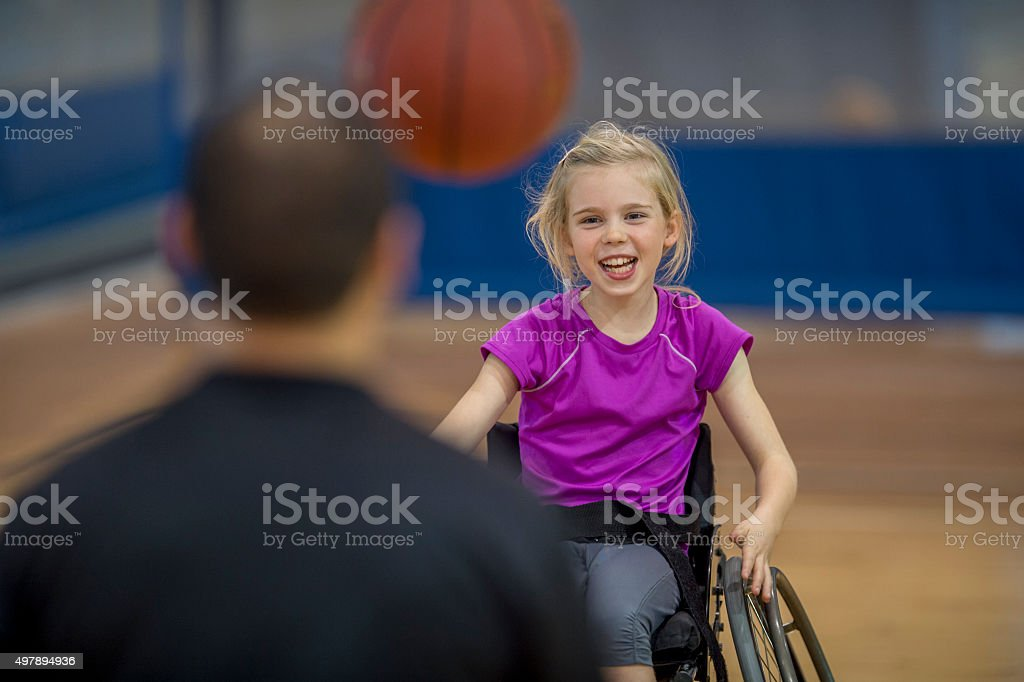 Little Girl in a Wheelchair stock photo