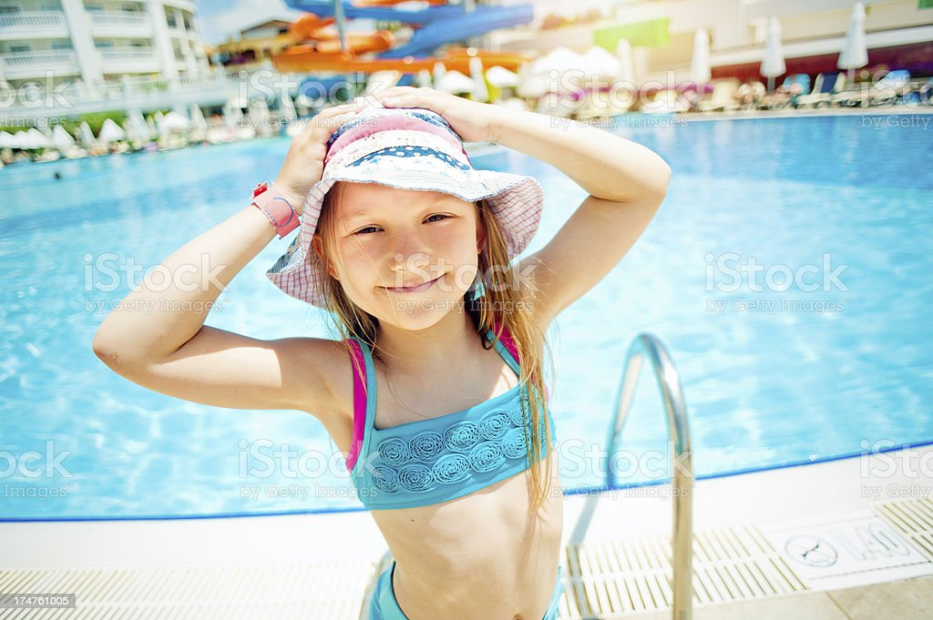 Little girl in aquapark royalty-free stock photo
