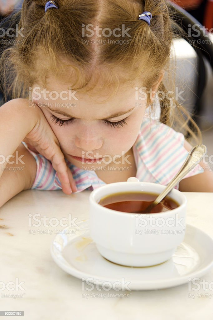 Little girl in cafe royalty-free stock photo