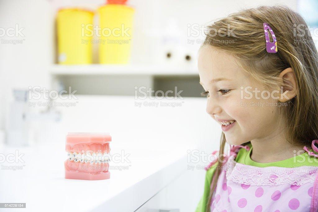 Little girl in dental office, smiling stock photo