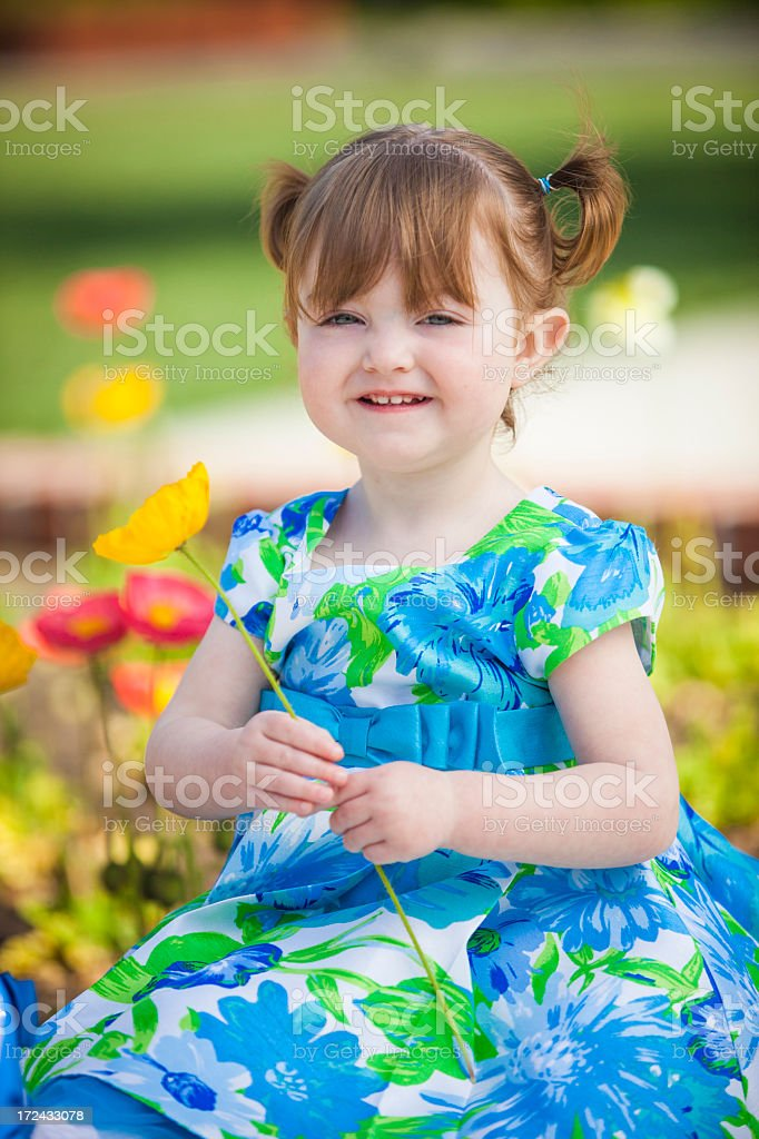 Little Girl in Dress with Flowers royalty-free stock photo