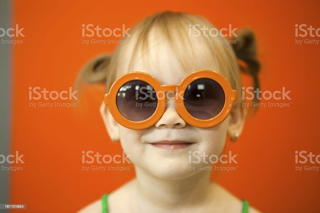 little girl in funny glasses royalty-free stock photo