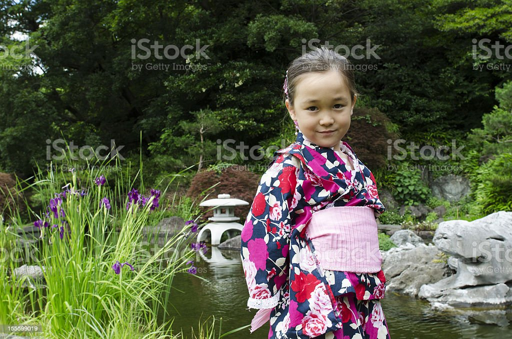 little girl in kimono royalty-free stock photo