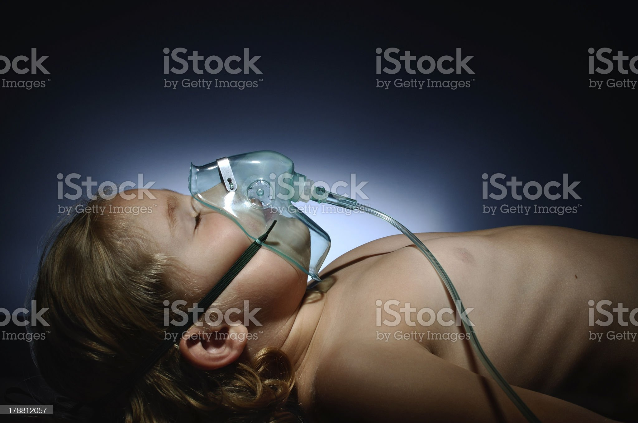 Little girl in mask of oxygen. royalty-free stock photo