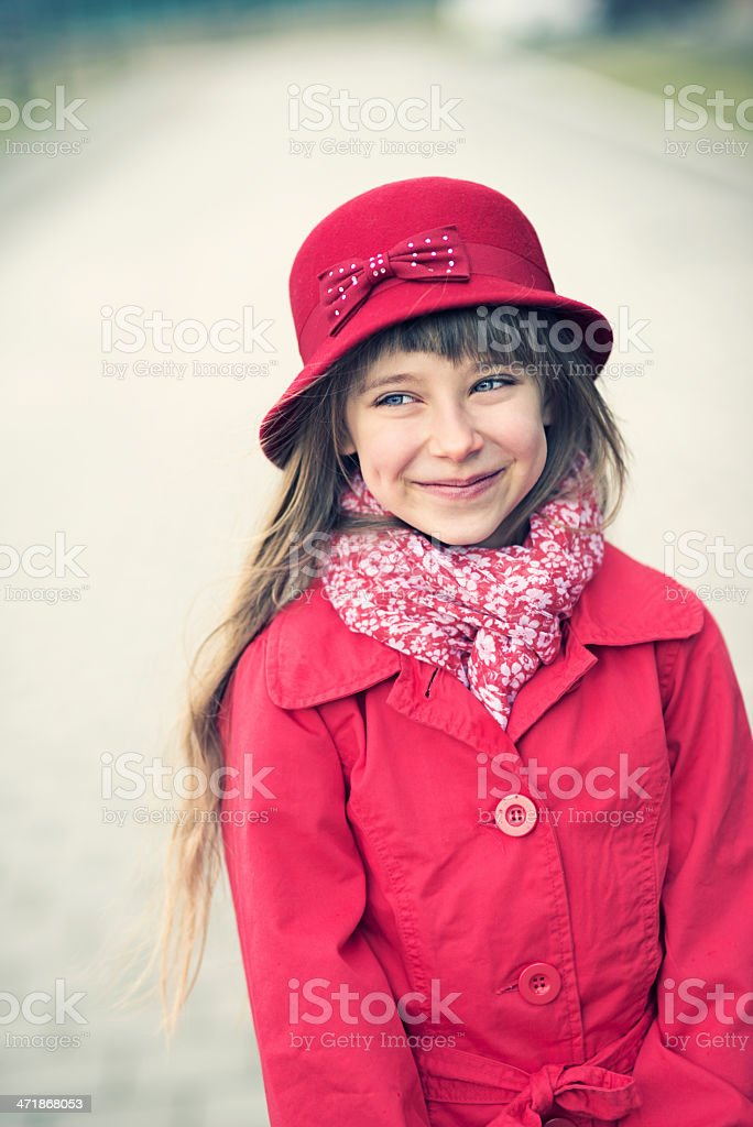 Little girl in red coat royalty-free stock photo