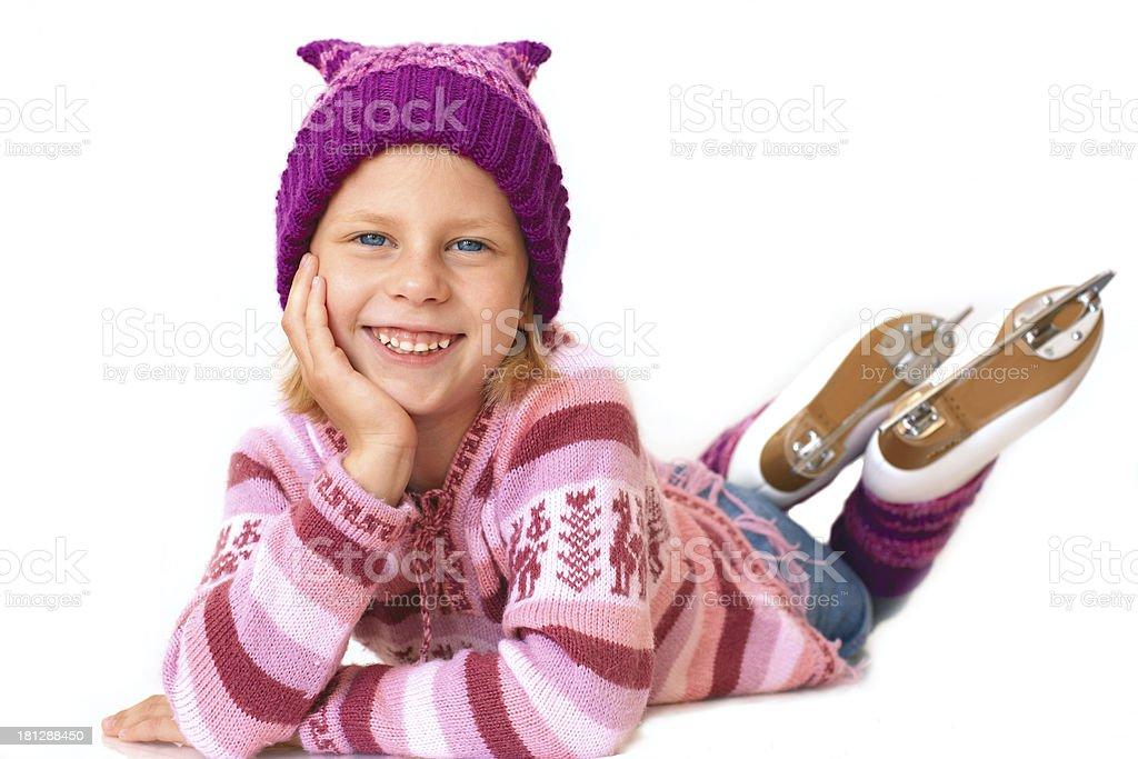 Little girl in skates royalty-free stock photo