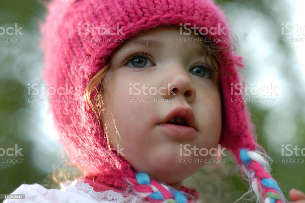 Little girl in snow hat royalty-free stock photo