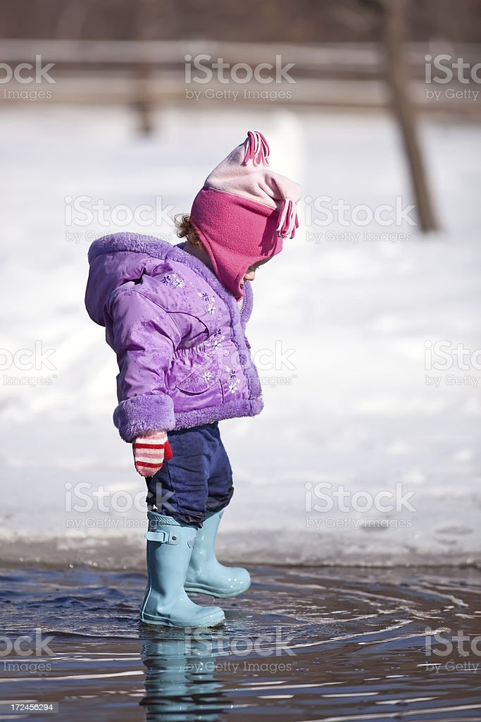 Little Girl in Spring Puddle royalty-free stock photo