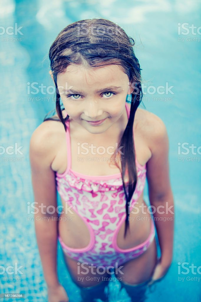 Little Girl in Swimming Pool royalty-free stock photo