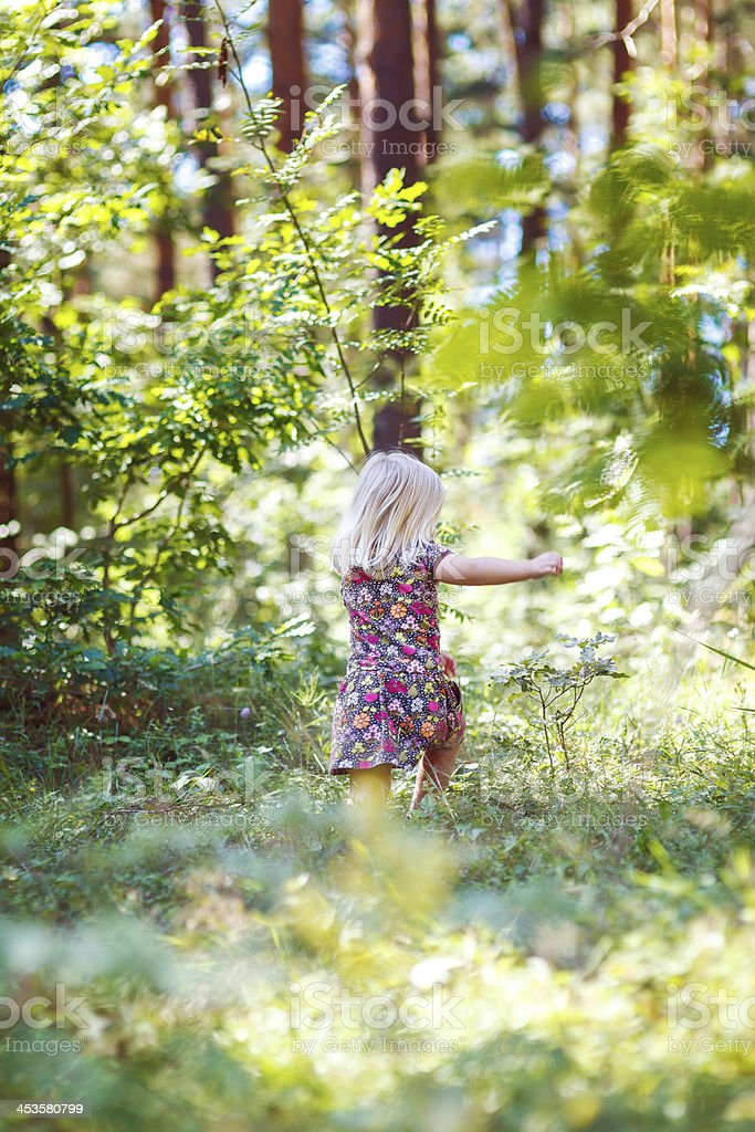 Little girl in the forest royalty-free stock photo