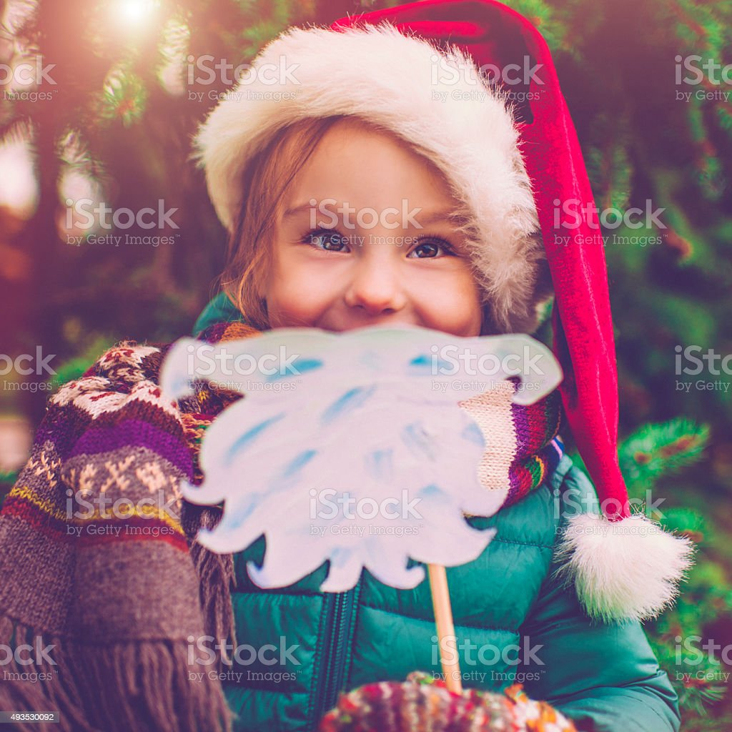 Little girl in Xmas stock photo