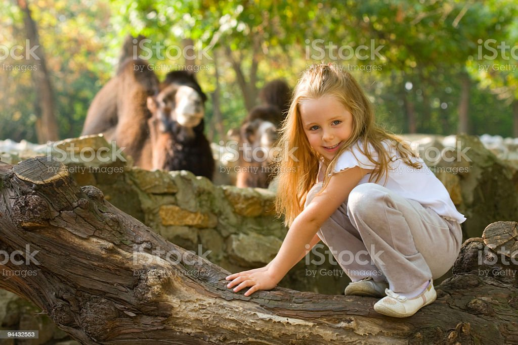 Little girl in Zoo royalty-free stock photo