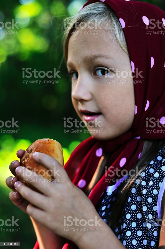Little girl is about to eat pie stock photo