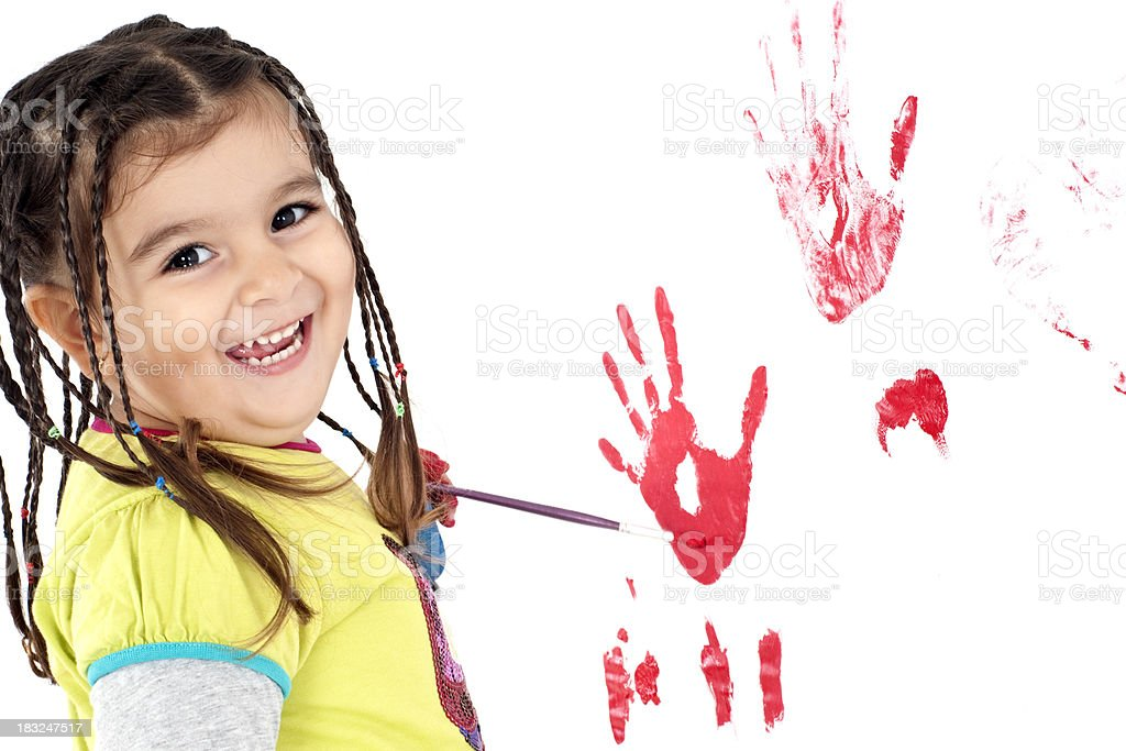 little girl is doing paint royalty-free stock photo