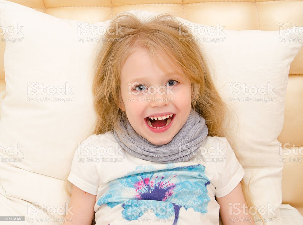 little girl is feeling well from the medical treatment stock photo