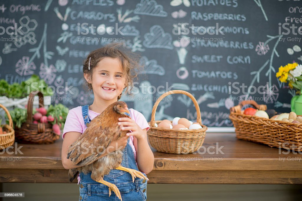A little girl is holding her pet chicken and is standing stock photo