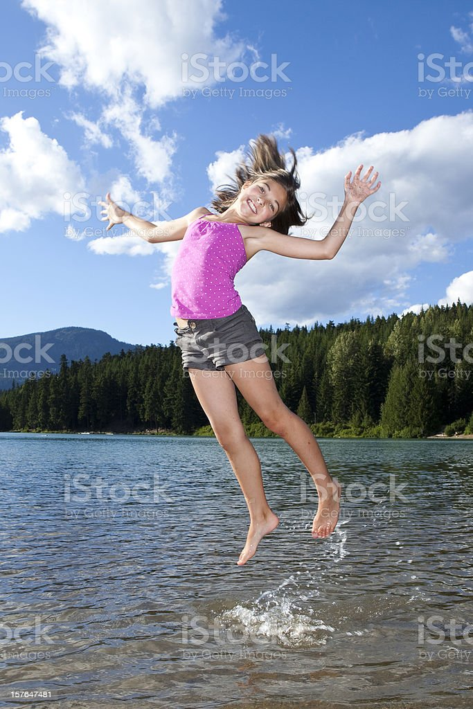 little girl jumping. royalty-free stock photo