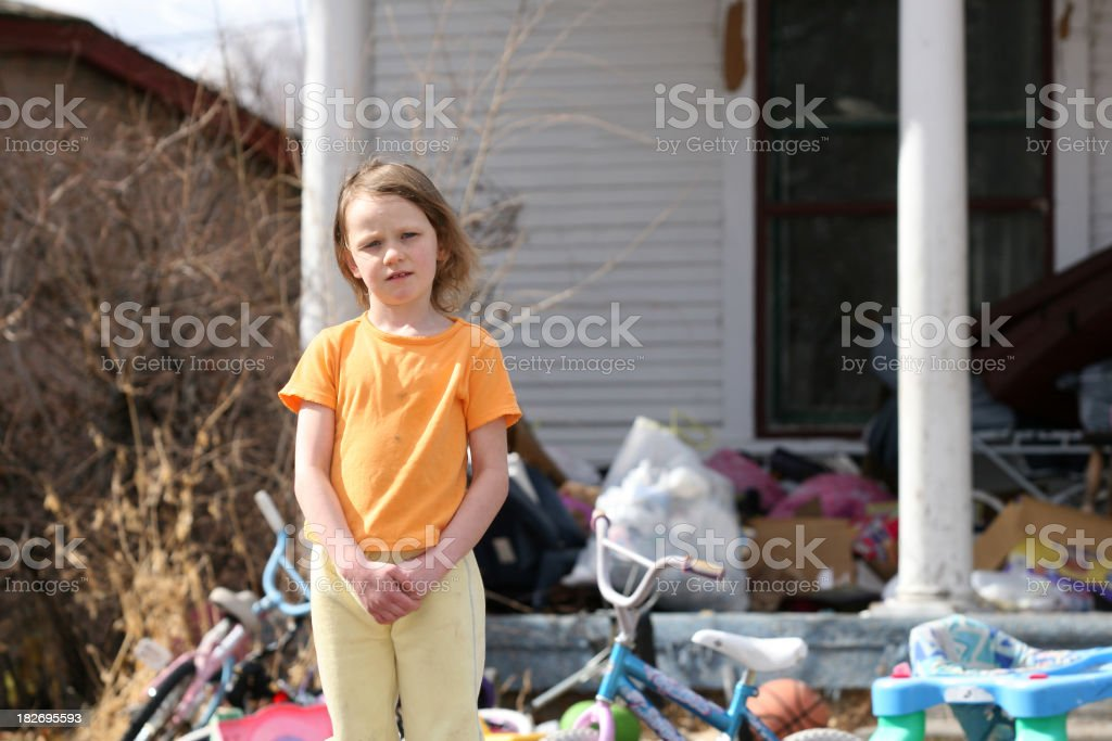 A little girl living in poverty in America stock photo