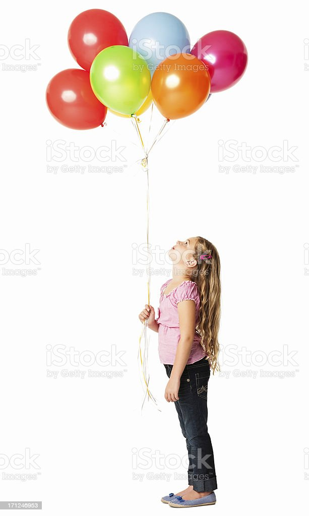 Little Girl Looking At the Balloons - Isolated stock photo