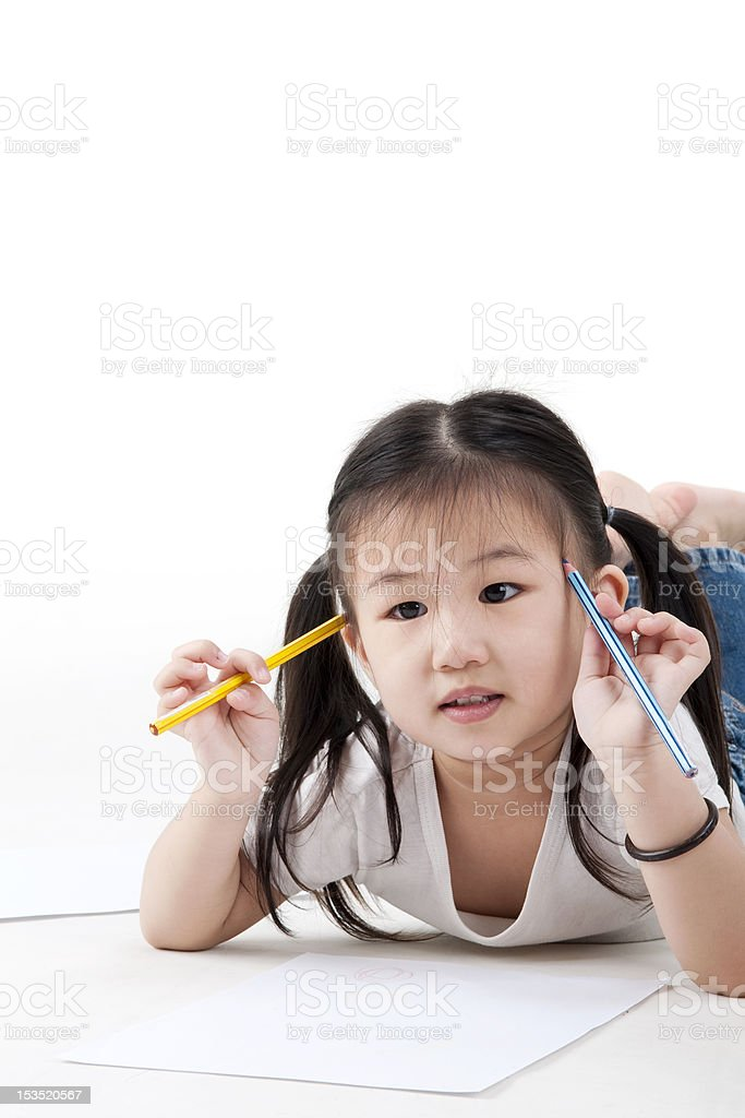 Little girl looking for a drawing concept royalty-free stock photo