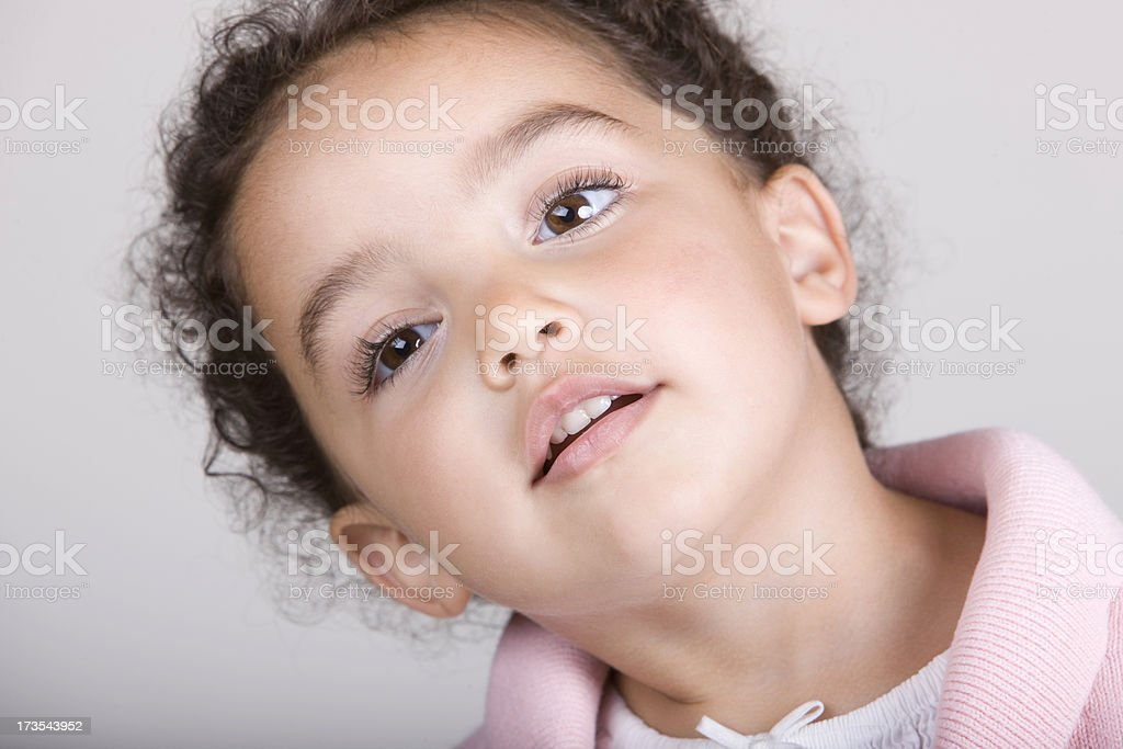 Little Girl Looking Serious royalty-free stock photo